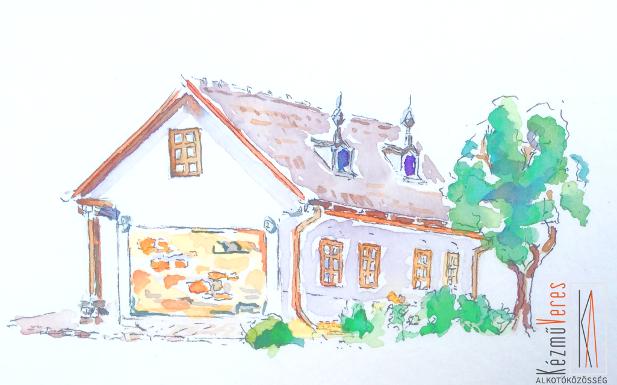 veresegyházi tájház akvarell technikával
