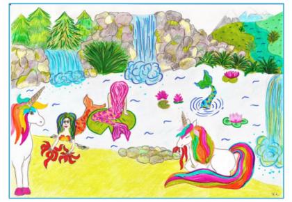 sellő, vízesés, egyszarvú rajz