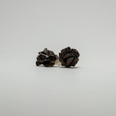 barna csíkos kávékapszula fülbevaló, beszúrós, rózsa