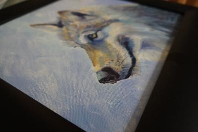 szürkefarkas totemállat olaj festmény