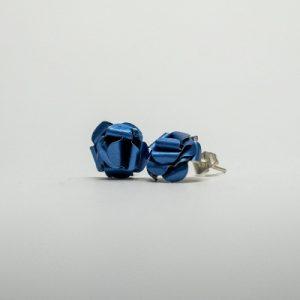 kék kávékapszula fülbevaló, beszúrós, rózsa