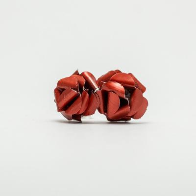 piros kávékapszula fülbevaló, beszúrós, rózsa
