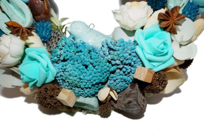 türkiz ajtókopogtató virágos közepes méretű akasztóval